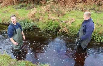 Reinigung des Devonport Leats am Rande des Dartmoor