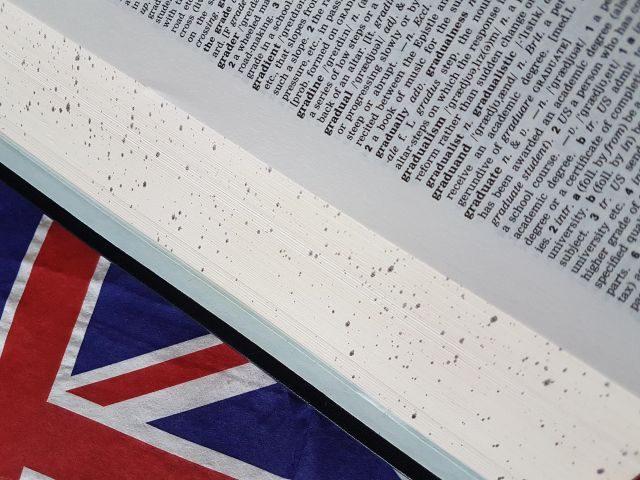 Wörterbuch auf englischer Flagge