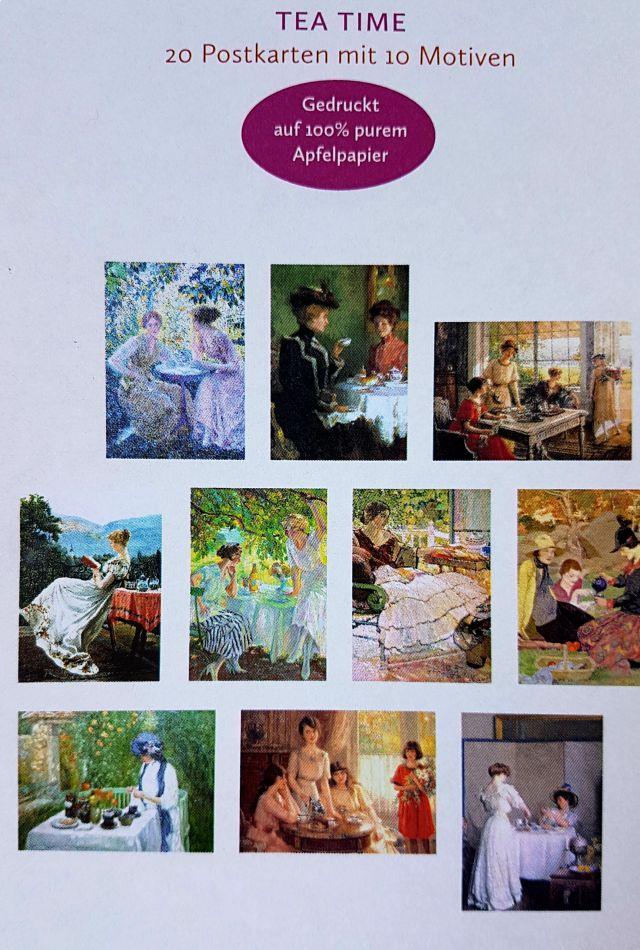 Teatime Postkarten. 10 verschiedene Motive von Postkarten in einer Metallbox von unterschiedlichen Künstlern