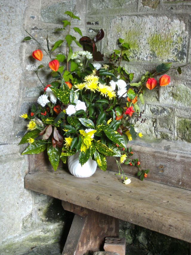 Blumen auf Bank