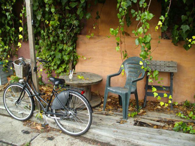 Fahrrad Tisch Stuhl Efeu
